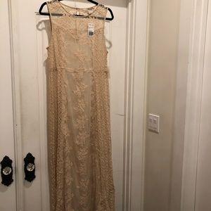 Cream lace overlay dress